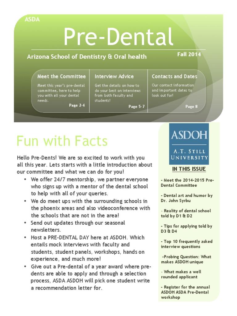 ASDOH ASDA Pre-Dental Newsletter - Fall 2014 | Dental Degree ...