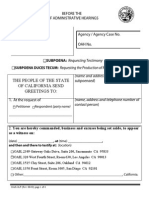 California Office of Administrative Hearings Large Print Subpoena