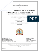 CUSTOMER SATISFACTION TOWARDS THE REAL - ESTATE PRODUCTS