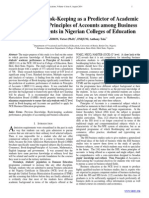 Knowledge of Book-Keeping as a Predictor of Academic  Performance in Principles of Accounts among Business  Education Students in Nigerian Colleges of Education