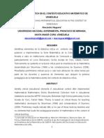 La Didactica Critica en El Contexto Educativo de Venezuela