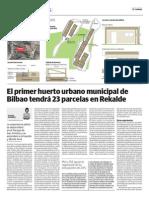 El primer huerto urbano municipal de Bilbao tendrá 23 parcelas en Rekalde