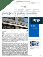 La Stampa - Standard&Poor'S_ La Crisi Non è Ancora Finita