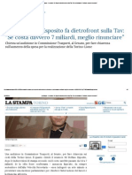 """La Stampa - Il Senatore Pd Esposito Fa Dietrofront Sulla Tav_ """"Se Costa Davvero 7 Miliardi, Meglio Rinunciare"""""""