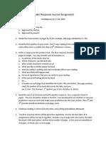 Reader Response Journal Assignment