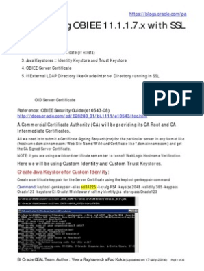 Configuring OBIEE SSL   Transport Layer Security   Public