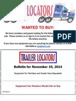 Wanted to Buy Bulletin - November 19, 2014