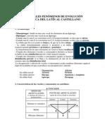 Principales Fenómenos de Evolución Fonética Del Latín Al Castellano