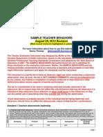 sample teacher behaviors 082912