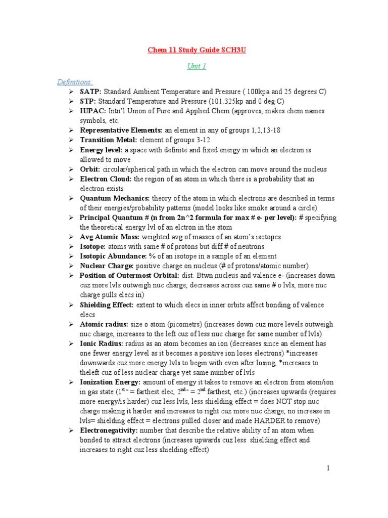 Chemistry sch3u unit 1 Term paper Service gapapergbpk