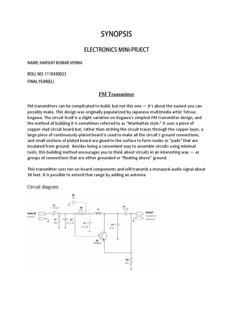 Mini Project Fm Transmitter Frequency Modulation Audio Circuit Diagram