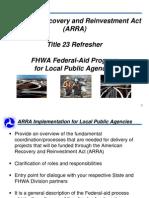 arra_fhwa federal-aid program for local public agencies_title 23_refresher