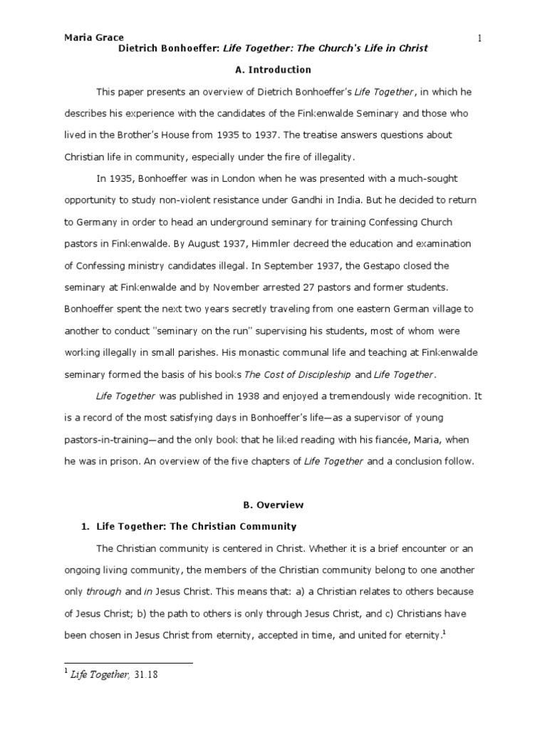 reflection paper on d bonhoeffer s life together by maria reflection paper on d bonhoeffer s life together by maria grace ph d confession religion dietrich bonhoeffer