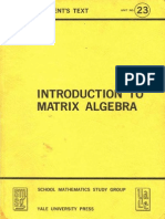 Introduction to Matrix Algebra