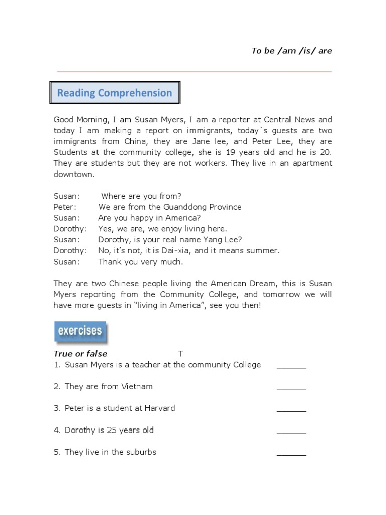- 39576 Reading Comprehension Verb To Be (1)