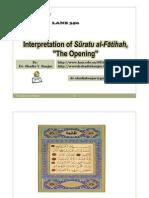 interpretation of  sūratu al-fātihah, presented by  dr