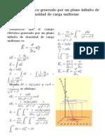 Campos eléctrico generado por el una superficie infinita de densidad de carga uniforme