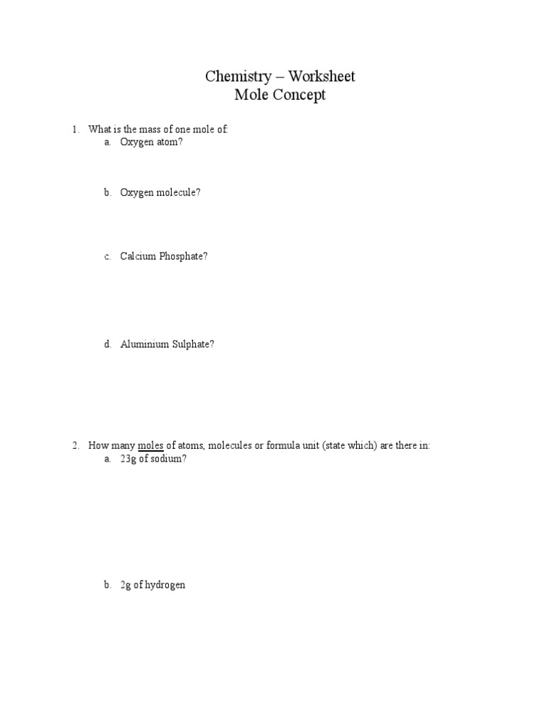 worksheet Mole Practice Worksheet worksheet 3 mole concept