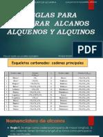 REGLAS PARA NOMBRAR  ALCANOS ALQUENOS Y ALQUINOS.pptx