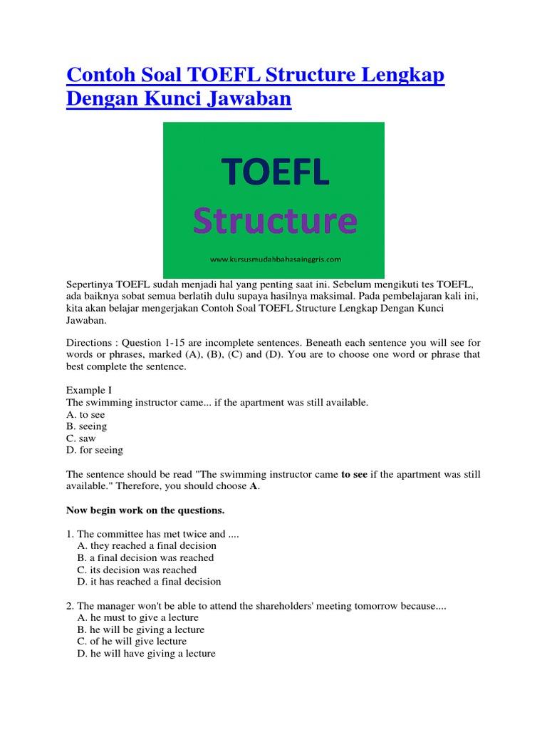 Contoh Soal Toefl Structure Lengkap Dengan Kunci Jawaban Verb Linguistic Typology