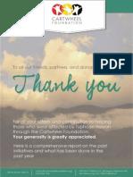 Cartwheel Foundation Inc. Yolanda Status Report 2014