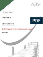 AQA PHYA2 W Specimen Paper
