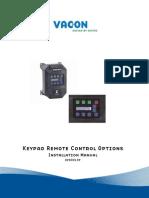 Vacon X Keypad Remote Control Installation Manual