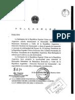 La carta del presidente de China a Cristina