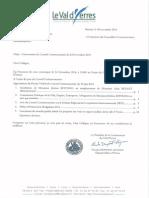 Ordre du jour détaillé du prochain Consel Communautaire du 24 novembre 2104