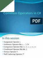 Common Operators in C#