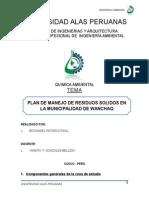 PLAN DE MANEJO DE RESIDUOS SOLIDOS EN LA MUNICIPALIDAD DE WANCHAQ