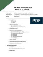Memoria Desc. Arquitectura - Ex Hotel Palace
