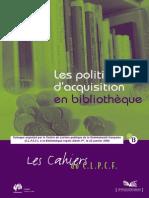 Les politiques d'acquisition en bibliothèques