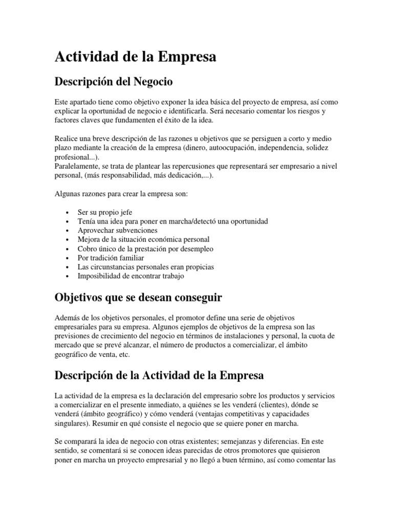 Único Ejemplo De Declaración De Objetivos Ornamento - Ejemplo De ...