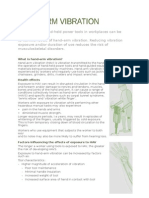 Hand Arm Vibration Fact Sheet