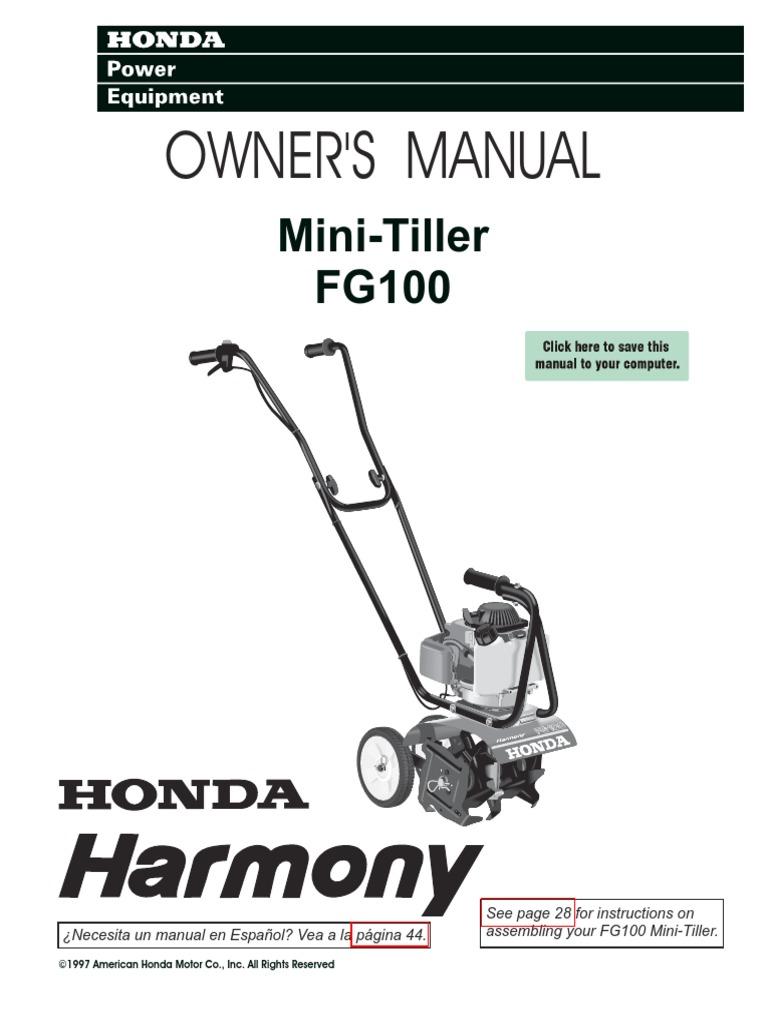 honda fg100 tiller throttle gasoline rh es scribd com Honda FG100 Tiller Repair Manual honda fg100 tiller service repair shop manual