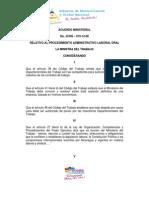 Acuerdo Ministerial Relativa Al Proceso Administrativo Laboral Oral