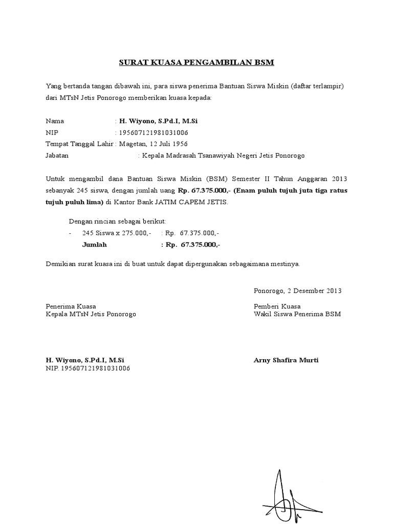 Contoh Surat Kuasa Pengambilan Uang Di Bank Jatim - Contoh ...