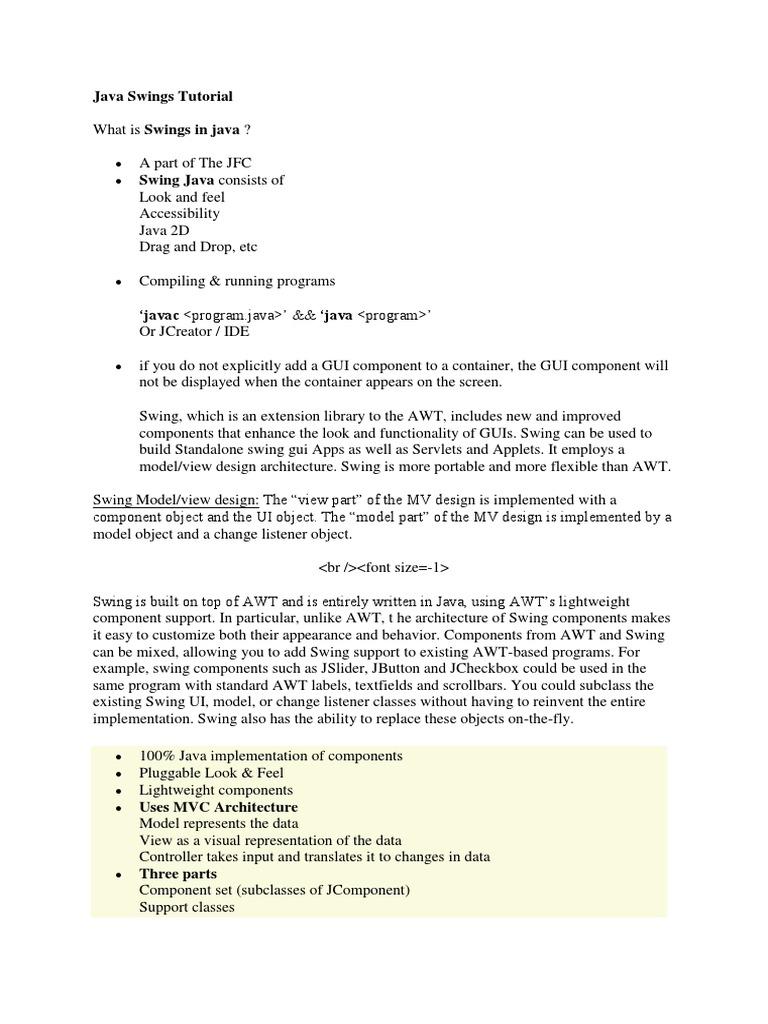 Java swing mvc tutorial choice image any tutorial examples java swings tutorial java programming language object java swings tutorial java programming language object computer science baditri Choice Image