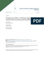 Comparison of t vs. Wilcoxon Signed Rank Test