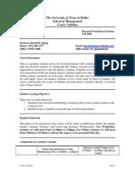 UT Dallas Syllabus for fin6375.001.08f taught by Huibing Zhang (hxz054000)