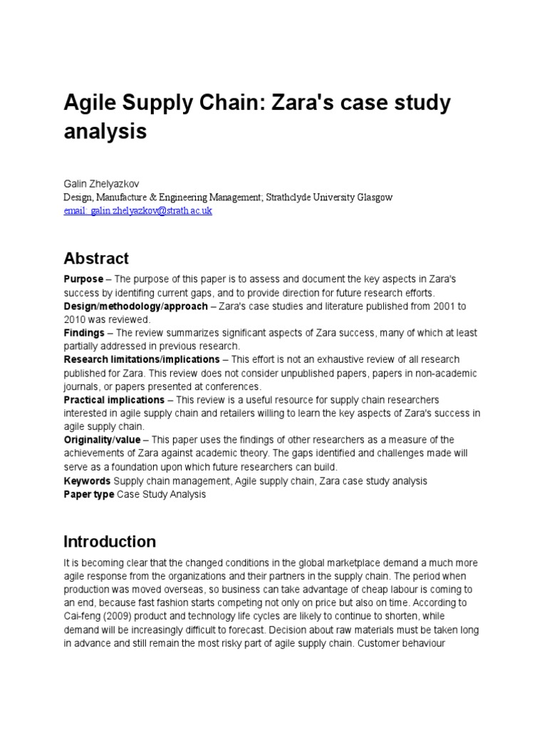 Agile Supply Chain Zara Case Study Analysis  6de004c2782