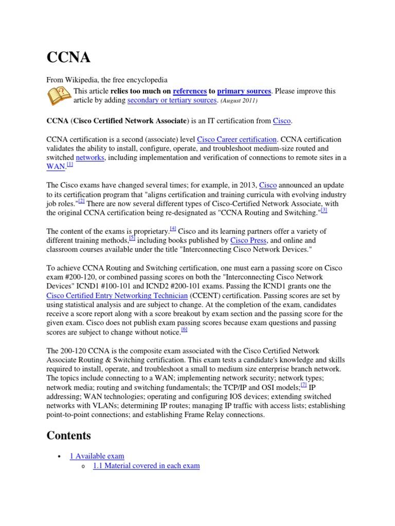 Ccna Doc Cisco Certifications Telecommunications