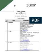 List of Participants-Training Programme on Technology Diplomacy 14-18Nov2011