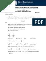 Model Paper-I (Mathematics)