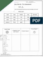 vocabulary pre assessment