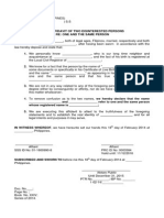 Joint Affidavit of Two Disinterested Persons, One and the Same Person