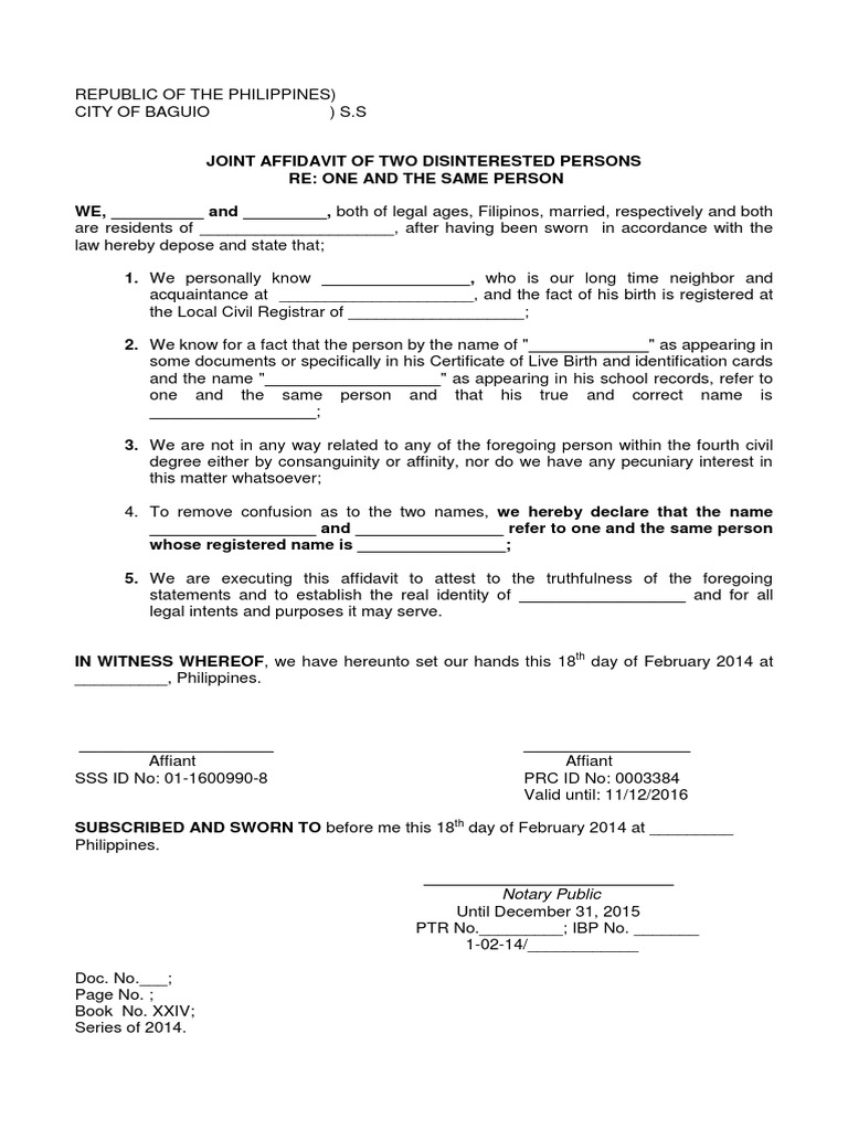 Joint Affidavit Of Two Disinterested Persons, One And The Same Person  Affidavit Template Doc