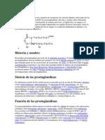 Prostaglandinas Función y Formación