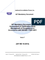 IAF MD 10 2013 CB Competence